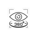 360 degree view sign. eye line icon, outline vector logo illustr