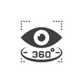 360 degree view sign. eye vector icon, solid logo illustration,