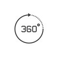 360 degree view sign. vector icon, solid logo illustration, pict Royalty Free Stock Photo