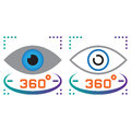 360 degree vision line icon, outline and solid vector sign, line