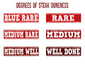 Degrees of steak doneness stamps set grunge rubber on white background vector illustration Stock Photo