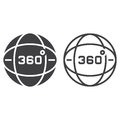 360 degrees view line icon, globe outline and solid vector sign,