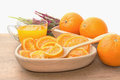 Dehydrated dried and fresh orange with juice fruit product Stock Images