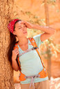 Dehydration thirst heat stroke exhaustion concept with woman hiker tired dehydrated and exhausted bryce canyon girl tired close to Stock Photos