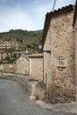Deia street of mountain village mallorca spain Stock Photos