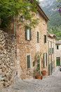 Deia street of mountain village mallorca spain Royalty Free Stock Images