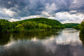 The Delaware River seen from a bridge in Belvidere, New Jersey. Royalty Free Stock Photo