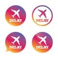 Delayed flight sign icon. Airport delay symbol. Royalty Free Stock Photo