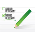 Delayed retirement selected with a check mark illustration design Royalty Free Stock Photos