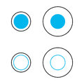 Delboeuf optical illusion of relative size perception the blue circles are the same and surrounded by an annulus the left Royalty Free Stock Images