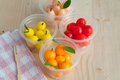 Delectable imitation fruits kanom look choup thai national dessert Stock Photography
