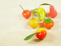 Delectable imitation fruits or lookchoup look choup thai dessert Stock Image