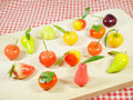 Delectable imitation fruits or lookchoup look choup thai dessert Stock Photo