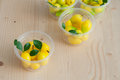 Delectable imitation fruits thai national dessert kanom look choup Stock Images