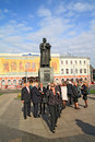 Delegation of the guests near monument YAroslav Wi Royalty Free Stock Photo