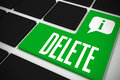 Delete on black keyboard with green key the word and speech bubble Stock Images
