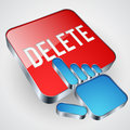 Delete button the with blue hand cursor Stock Photos