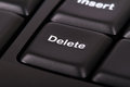 Delete key on black computer keyboard Royalty Free Stock Image