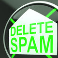 Delete Spam Shows Undesired Electronic Mail Filter Stock Images