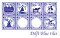 Delft Blue Dutch tiles with folk pictures