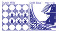 Delft Blue tiles (pattern) with Dutch Windmill pictures Royalty Free Stock Photo