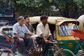 Delhi india august indian trishaw in delhi india bicycle rickshaw on the street of Stock Photography