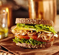 Deli meat sandwich with turkey cheese lettuce and tomato Royalty Free Stock Photos