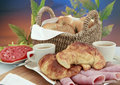 Deli meats croissant and coffee Royalty Free Stock Photography