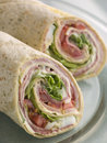 Deli Tortilla Wrap Cut in Half Royalty Free Stock Photography