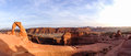 Delicate Arch panorama, Arches NP, Moab Royalty Free Stock Photo