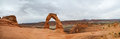 Delicate arch panoramic a picture of in arches national park moab ut Stock Image