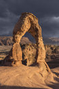 Delicate arch and storm in arches national park moab utah Stock Photography
