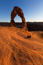 Delicate Arch sunset in Arches National Park Royalty Free Stock Photo