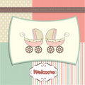 Delicate baby twins shower card Royalty Free Stock Photo