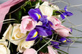 Delicate beautiful bouquet of  iris, roses and other flowers in Royalty Free Stock Photo