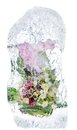 Delicate bouquet of flowers in the ice collage fresh frozen a block Stock Photo