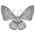 Delicate butterfly with intricate tangled wing design. Hand drawn, suitable for print and coloring. Royalty Free Stock Photo