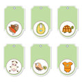 Delicate cartoon animals labels set Stock Photo