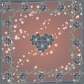 Delicate cute scarf pattern with flowers in trendy colors on brown background.Floral print for scarf,textile,covers,surface,