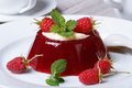 Delicate dessert raspberry jelly with mint and cream Royalty Free Stock Photo