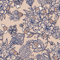 Delicate floral seamless pattern with blooming garden flowers Royalty Free Stock Photography