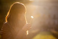 Delicate and fragile girl sweet hope woman and nature romantic sunset profile illuminated a with a dandelion flower in hand Royalty Free Stock Photos