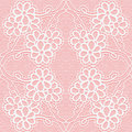Delicate lace pattern on a pink background. Seamless floral ornament. Royalty Free Stock Photo