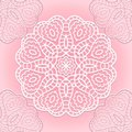 Delicate lace seamless pattern background with circle ornament Stock Photo