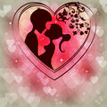 Delicate pink background with silhouettes of two lovers