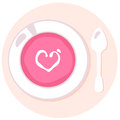Delicate pink love fresh soup in circle with heart vector illustration Royalty Free Stock Photo
