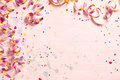 Delicate pink party background with streamers Royalty Free Stock Photo