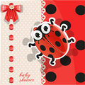 Delicate red baby shower card with cute ladybug Stock Photography