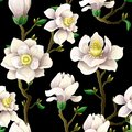 Delicate seamless pattern with magnolia flowers on a black background.