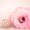 Delicate wedding background with rings and pink flower eustoma Royalty Free Stock Photos